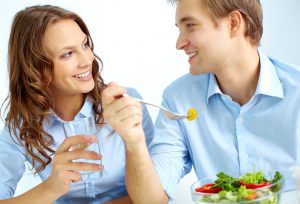 couple in love enjoying a meal